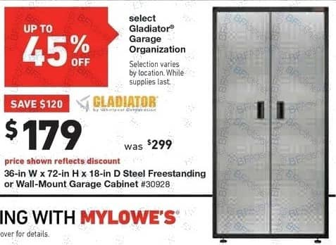 Lowe's Black Friday: 36-in. x 72-in. x 18-in Steel Freestanding or Wall-Mount Garage Cabinet for $179.00