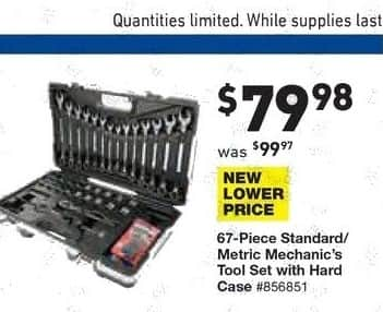 Lowe's Black Friday: 67-pc. Standard/Metric Mechanic's Tool Set with Hard Case for $79.98