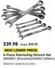 Lowe's Black Friday: 8-pc. Ratcheting Wrench Set for $39.98