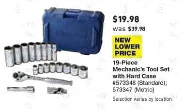 Lowe's Black Friday: 19-pc. Mechanic's Tool Set with Hard Case for $19.98