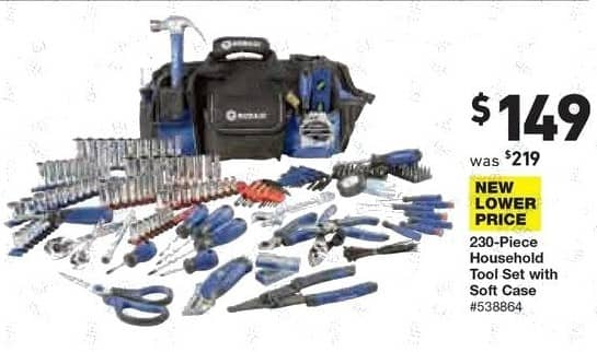 Lowe's Black Friday: 230-pc. Household Tool Set with Soft Case for $149.00