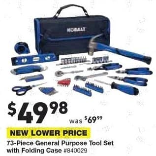 Lowe's Black Friday: 73-pc. General Purpose Tool Set with Folding Case for $49.98