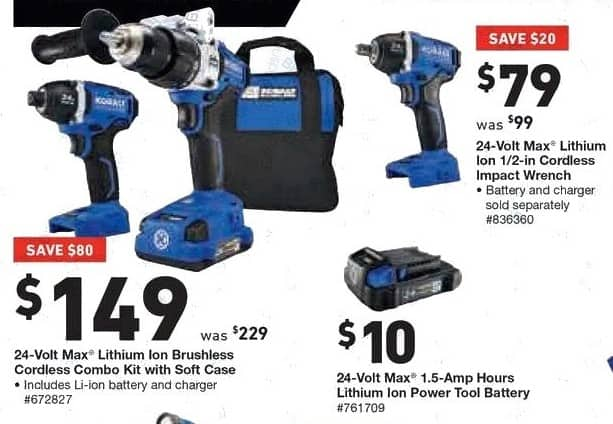 Lowe's Black Friday: Kobalt 24-Volt Max Lithium Ion Brushless Cordless Combo Kit with Soft Case for $149.00
