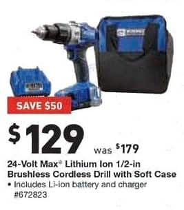 Lowe's Black Friday: Kobalt 24-Volt Max Lithium Ion 1/2-in. Brushless Cordless Drill with Soft Case for $129.00