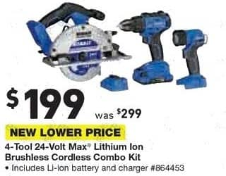 Lowe's Black Friday: Kobalt 4-Tool 24-Volt Max Lithium Ion Brushless Cordless Combo Kit for $199.00