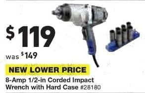 Lowe's Black Friday: Kobalt 8-Amp 1/2-in. Corded Impact Wrench with Hard Case for $119.00