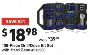 Lowe's Black Friday: Kobalt 106-pc. Drill/Drive Bit Set with Hard Case for $18.98