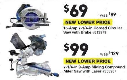 Lowe's Black Friday: Kobalt  7-1/4-in 9-Amp Sliding Compound Miter Saw with Laser for $99.00