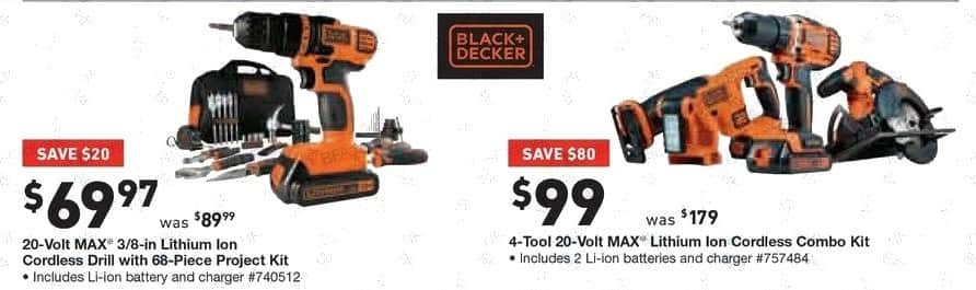 Lowe's Black Friday: Black & Decker 20-Volt MAX 3/8-in. Lithium Ion Cordless Drill with 68-pc. Project Kit for $69.97