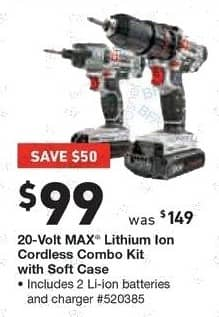 Lowe's Black Friday: 20-Volt MAX Lithium Ion Cordless Combo Kit with Soft Case for $99.00