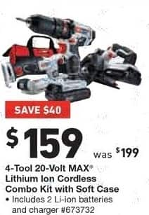 Lowe's Black Friday: 4-Tool 20-Volt MAX Lithium Ion Cordless Combo Kit with Soft Case for $159.00