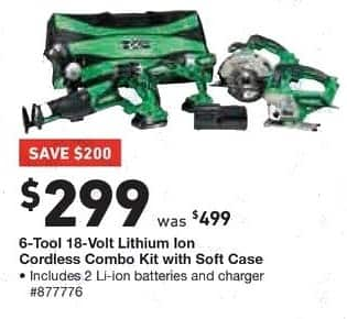 Lowe's Black Friday: Hitachi 6-Tool 18-Volt Lithium Ion Cordless Combo Kit with Soft Case for $299.00