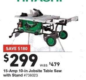 Lowe's Black Friday: Hitachi 15-Amp 10-in. Jobsite Table Saw with Stand for $299.00