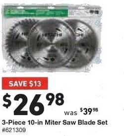 Lowe's Black Friday: Hitachi 3-pc. 10-in. Miter Saw Blade Set for $26.98