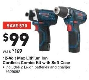 Lowe's Black Friday: Bosch 12-Volt Max Lithium Ion Cordless Combo Kit with Soft Case for $99.00