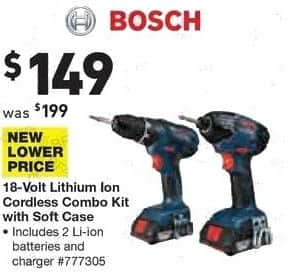 Lowe's Black Friday: Bosch 18-Volt Lithium Ion Cordless Combo Kit with Soft Case for $149.00