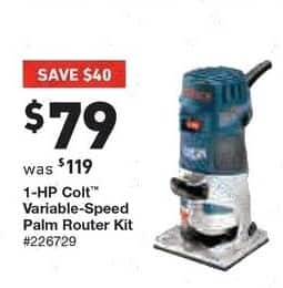 Lowe's Black Friday: Bosch 1-HP Colt Variable-Speed Palm Router Kit for $79.00
