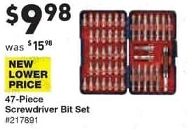 Lowe's Black Friday: Bosch 47-pc. Screwdriver Bit Set for $9.98