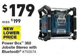 Lowe's Black Friday: Bosch Power Box 360 Jobsite Stereo with Bluetooth for $179.00