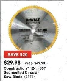 Lowe's Black Friday: Construction 12-in. 80T Segmented Circular Saw Blade for $29.98