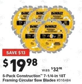 Lowe's Black Friday: 5-pk. Construction 7-1/4-in. 18T Framing Circular Saw Blades for $19.98