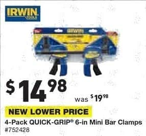 Lowe's Black Friday: Irwin 4-pk. Quick-Grip 6-in. Mini Bar Clamps for $14.98