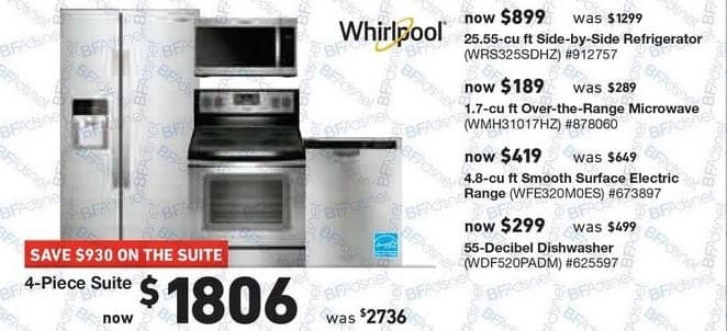 Lowe's Black Friday: Whirlpool 4-pc. Kitchen Suite: 25.55 cu-ft. Side-by-Side Refrigerator, 1.7 cu-ft. Over-the-Range Microwave and More for $1,806.00
