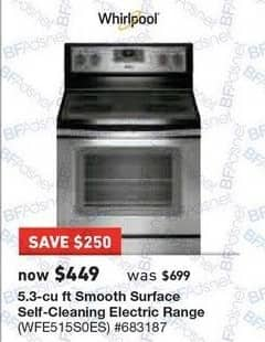Lowe's Black Friday: Whirlpool 5.3 cu-ft. Smooth Surface Self-Cleaning Electric Range (WFE515S0ES) for $449.00