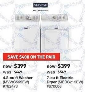 Lowe's Black Friday: Maytag 4.2 cu-ft. Washer or 7 cu-ft. Electric Dryer, Each for $399.00