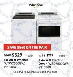 Lowe's Black Friday: Whirlpool 4.8 cu-ft. Washer or 7.4 cu-ft. Electric Dryer for $529.00