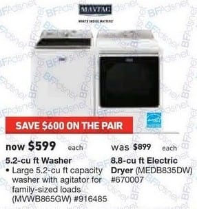 Lowe's Black Friday: Maytag 5.2 cu-ft. Washer or 8.8 cu-ft. Electric Dryer for $599.00