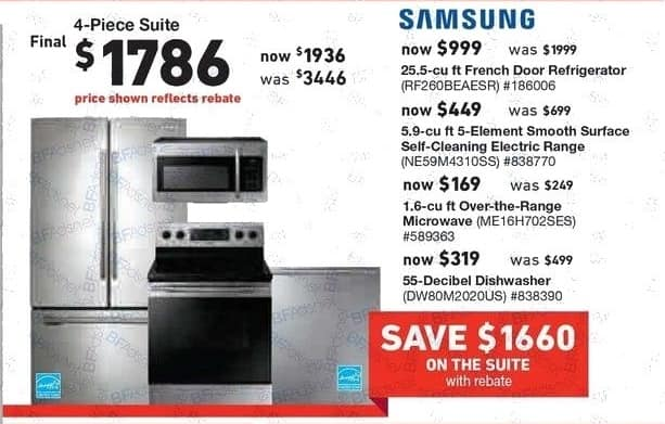 Lowe's Black Friday: Samsung 4-pc. Suite: 25.5 cu-ft. French Door Refrigerator, 5.9 cu-ft. 5-Element Smooth Surface Self-Cleaning Electric Range and More for $1,786.00 after $150 rebate