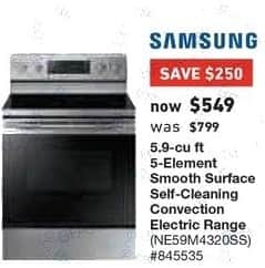 Lowe's Black Friday: Samsung 5.9 cu-ft. 5-Element Smooth Surface Self-Cleaning Convection Electric Range (NE59M4320SS) for $549.00