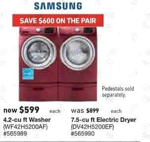 Lowe's Black Friday: Samsung 4.2 cu-ft. Washer (WF42H5200AF) for $599.00