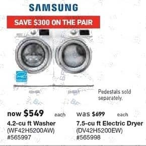 Lowe's Black Friday: Samsung 4.2 cu-ft. Washer (WF42H5200AW) for $549.00
