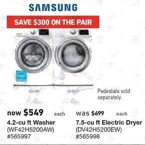 Lowe's Black Friday: Samsung 7.5 cu-ft. Electric Dryer (DV42H5200EW) for $549.00