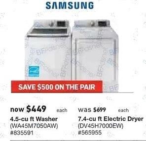 Lowe's Black Friday: Samsung 7.4 cu-ft. Electric Dryer (DV45H7000EW) for $449.00