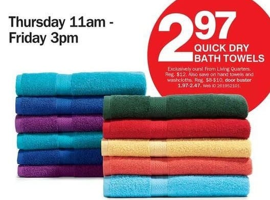 Bon-Ton Black Friday: Living Quarters Quick Dry Bath Towels for $2.97