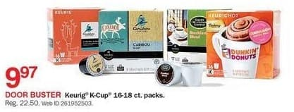 Bon-Ton Black Friday: Keurig K-Cup 16-18 ct Packs for $9.97