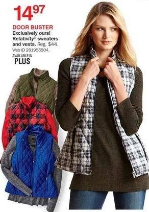Bon-Ton Black Friday: Relativity Sweaters & Vests for Her for $14.97