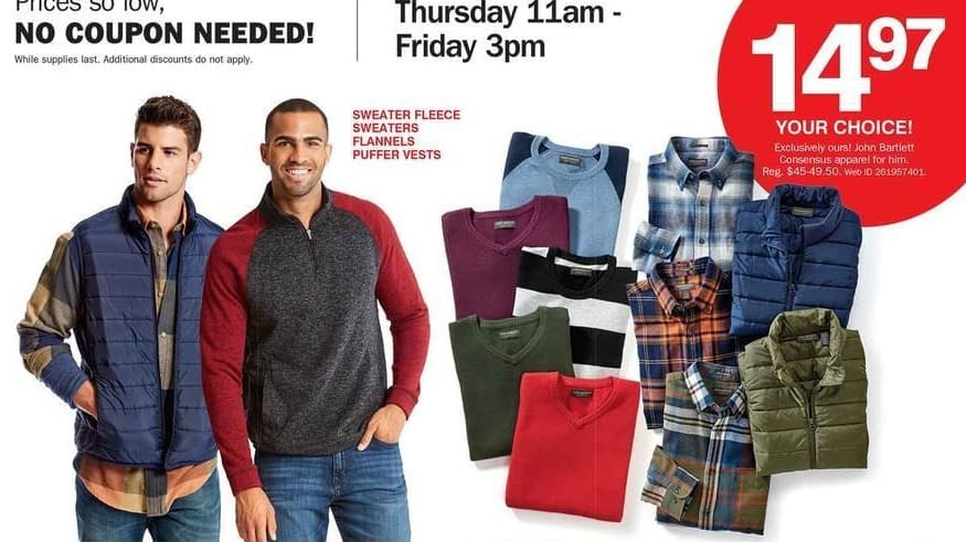 Bon-Ton Black Friday: John Bartlett Consensus Sweater Fleece, Flannels, Puffer Vests & Sweaters for Him for $14.97