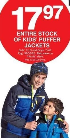Bon-Ton Black Friday: Kids' Puffer Jackets for $17.97