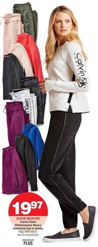Bon-Ton Black Friday: Calvin Klein Performance Fleece Crewneck Top or Pants for Her for $19.97
