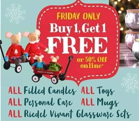 Cost Plus World Market Black Friday: All Filled Candles, Toys, Personal Care, Mugs and Riedel Vivant Glassware Sets - B1G1 Free