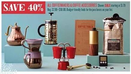 Cost Plus World Market Black Friday: All Coffee Makers and Coffee Accessories - 40% Off