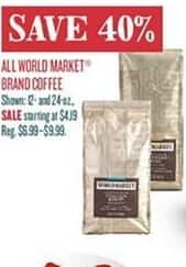 Cost Plus World Market Black Friday: All World Market Brand Coffee - 40% Off
