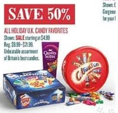 Cost Plus World Market Black Friday: All Holiday U.K. Candy Favorites - 50% Off