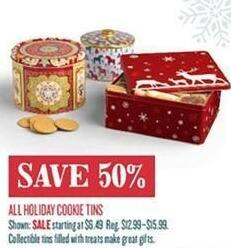 Cost Plus World Market Black Friday: All Holiday Cookie Tins - 50% Off