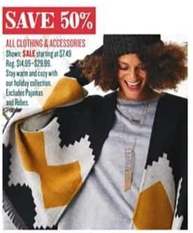 Cost Plus World Market Black Friday: All Clothing and Accessories - 50% Off