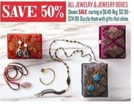 Cost Plus World Market Black Friday: All Jewelry and Jewelry Boxes - 50% Off